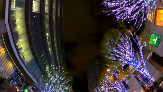 driving through winter night illumination in keyakizaka, roppongi, tokyo - plusphoto stock videos & royalty-free footage