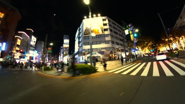 fahrt durch die winternachtbeleuchtung in omotesando, tokio - verkehrsweg für fußgänger stock-videos und b-roll-filmmaterial