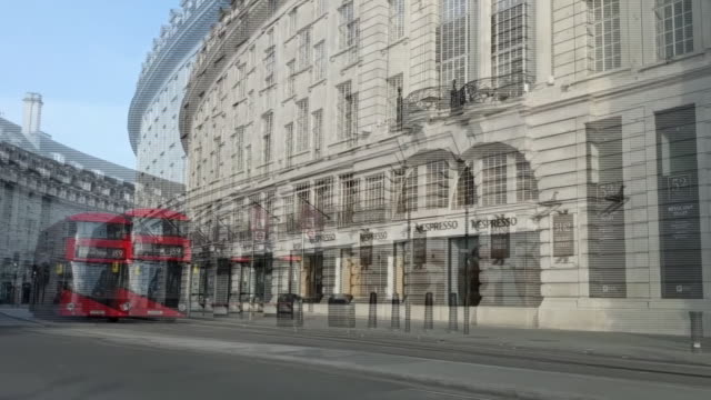 driving time lapse of regents street during the coronavirus lockdown - double decker bus stock videos & royalty-free footage