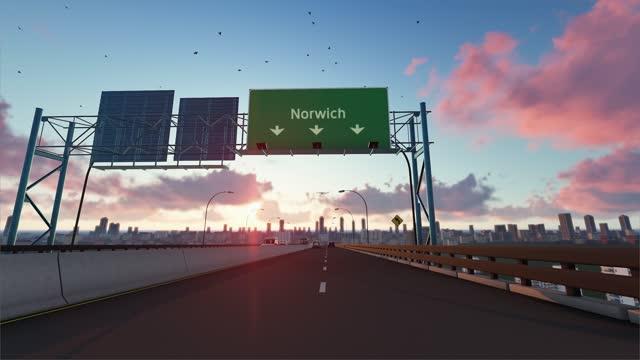 fahrt nach norwich, animierte autobahnszene. norwich autobahnschild - straßenmarkierung stock-videos und b-roll-filmmaterial