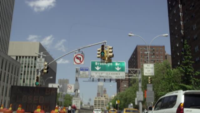 Driving POV toward Brooklyn Bridge in Brooklyn