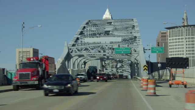 driving towards veterans memorial bridge - cleveland ohio stock videos and b-roll footage