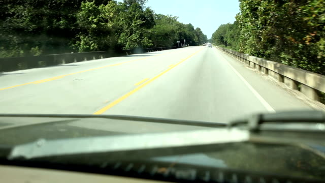 Driving. Transportation. View through vehicle windshield. Traveling down Texas highway.