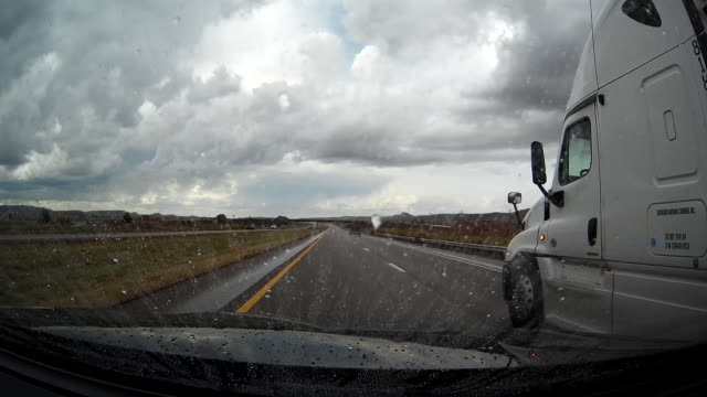 Driving under stormy weather on US highway 40