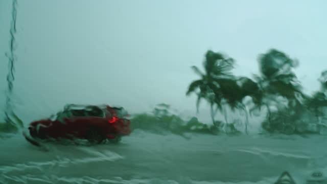 vidéos et rushes de conduite sous la pluie torrentielle pendant une tempête tropicale en floride. - climat
