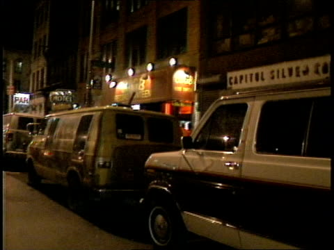 Driving up the Bowery passing CBGB club in 1988 filmed from a moving car