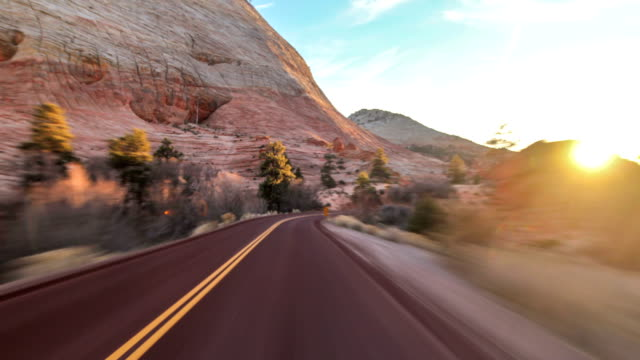 driving utah zion national park - zion national park stock videos and b-roll footage