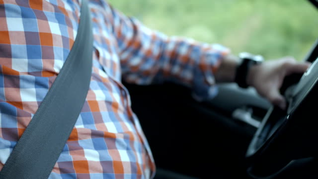 hd: driving with tightened seatbelt - overweight stock videos & royalty-free footage