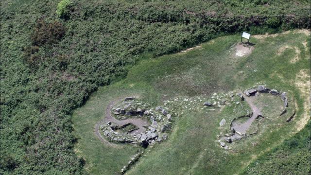 dronberg stone circle  - aerial view - munster,  cork,  helicopter filming,  aerial video,  cineflex,  establishing shot,  ireland - county cork stock videos & royalty-free footage