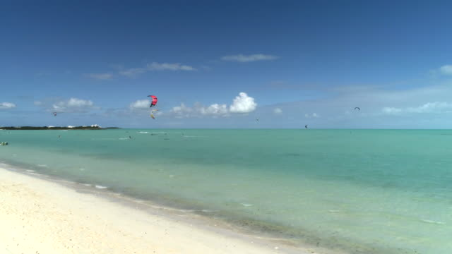 Drone 4k Aerial pan of kiteboarding of perfect day from the shore