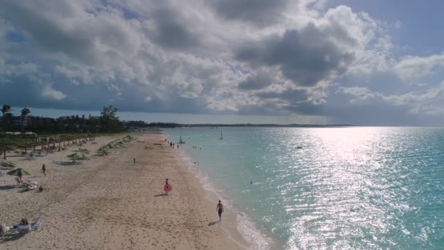 Drone 4k Aerial view of perfect beach Grace Bay down shoreline