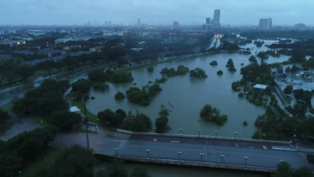 drone aerial flyover of areas in houston texas flooded by hurricane harvey 08/28/17 keywords - environment or natural disaster or climate change or earthquake or hurricane or extreme weather or oil spill or volcano or tornado or flooding stock videos & royalty-free footage