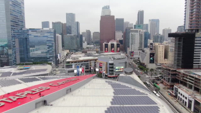 drone aerial of downtown and staples center in los angeles california usa on saturday may 15 2019 - staples centre stock videos & royalty-free footage