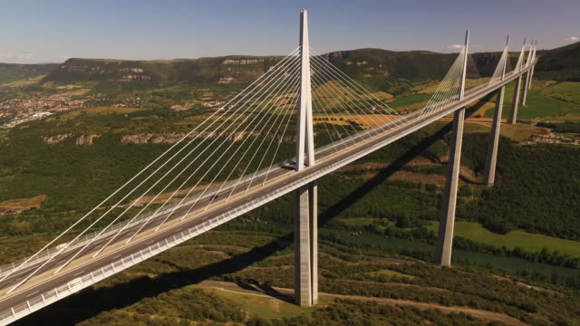 drone aerial of millau viaduct, france - moving image stock videos & royalty-free footage