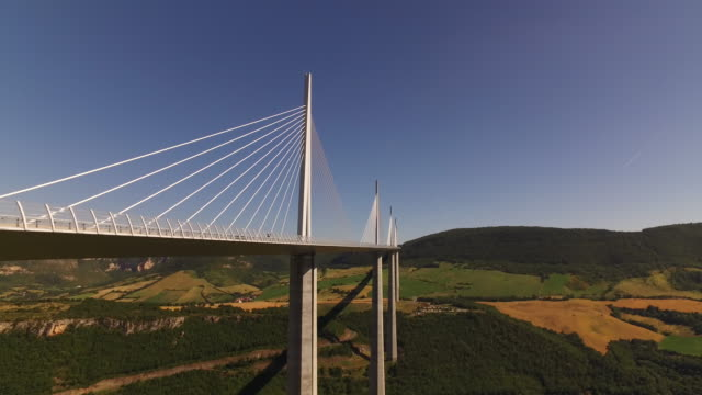 drone aerial of millau viaduct, france - brücke stock-videos und b-roll-filmmaterial