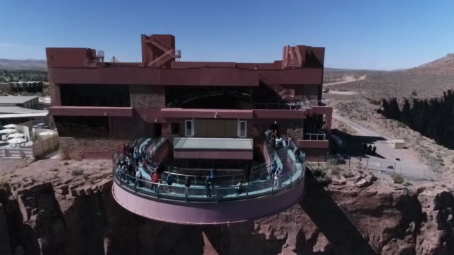 drone aerial of the grand canyon skywalk - aerial or drone pov or scenics or nature or cityscape stock videos & royalty-free footage