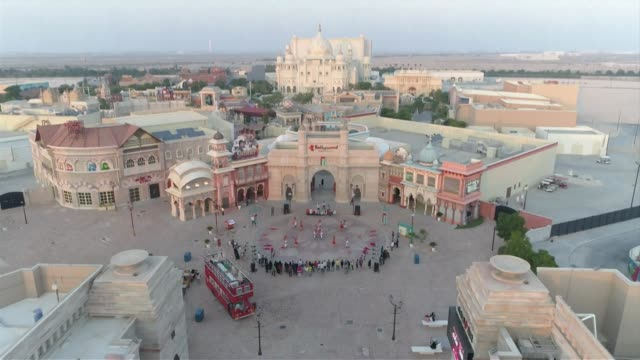drone aerial over bollywood theme park in dubai - bollywood stock videos and b-roll footage