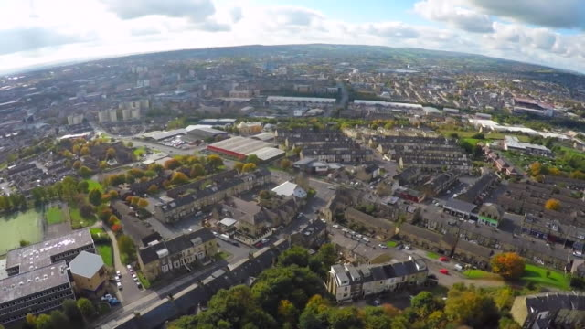 drone aerial over bradford - general view stock videos & royalty-free footage