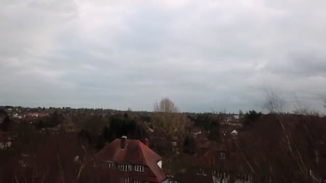 drone aerial over housing estate in sutton coldfield - west midlands stock-videos und b-roll-filmmaterial