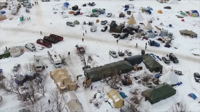 drone aerial over the standing rock indian reservation - north american tribal culture stock videos & royalty-free footage