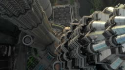 Drone Aerial scene of fly close up over Petronas twin tower in Kuala Lumpur malaysia view in day time 4k video