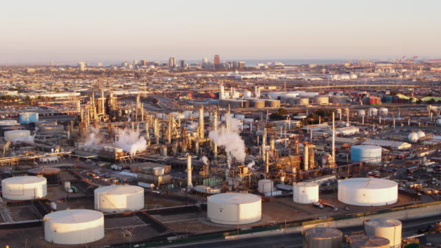 drone aerial shot of oil refinery - port of los angeles stock videos & royalty-free footage