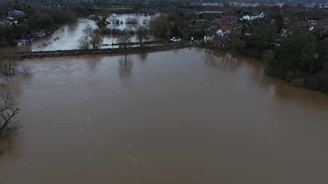 GBR: Storm Christoph: River Dee bursts banks at Chester