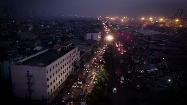 Drone aerial shots of Manila at night in December 2016 in Manila Philippines