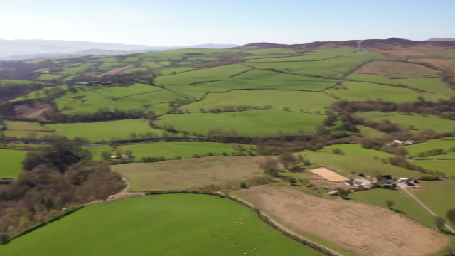 drone aerial shots of north wales countryside with farm fields and sheep grazing, rolling hills etc during the coronavirus lockdown on 5 may 2020 in... - rustic stock videos & royalty-free footage