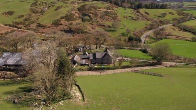 drone aerial shots of north wales countryside with farm fields and sheep grazing, rolling hills etc during the coronavirus lockdown on 5 may 2020 in... - agricultural field stock videos & royalty-free footage