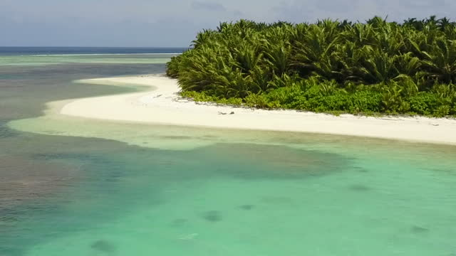 drone aerial shots of scenery on one of the cocos keeling islands including shots of a beach looking out across the ocean and the island landscape on... - landscape scenery点の映像素材/bロール