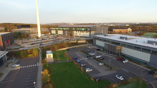 drone aerial shots of the university of sheffield amrc on 27 november 2020 in sheffield, united kingdom - sheffield stock videos & royalty-free footage