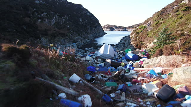Drone Aerial shots plastic waste rubbish washed up on shore on June 20 2017 in Bergen Norway