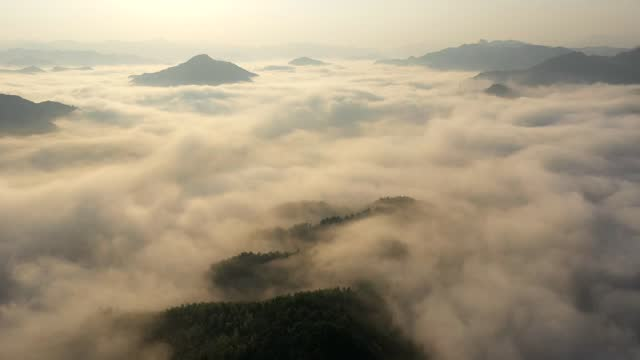 drone aerial timelapse video of clouds rolling above lu'an mountain in lu'an county, anhui province. - rolling stock videos & royalty-free footage