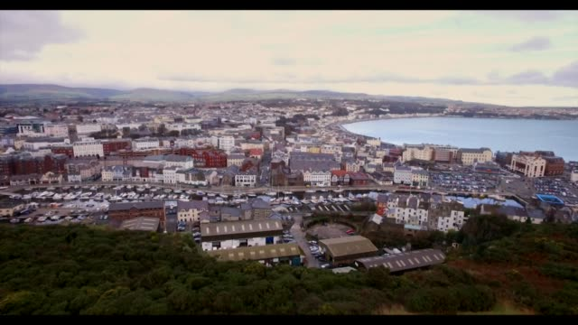 drone aerial town of douglas on isle of man - isle of man stock videos & royalty-free footage