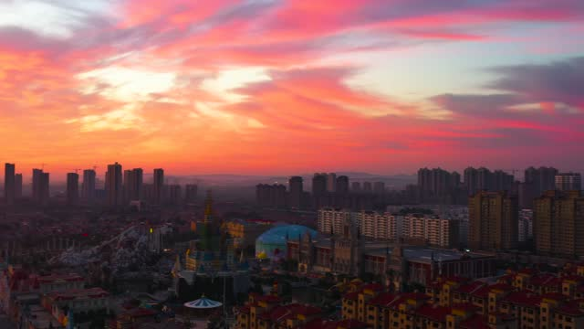 drone aerial video of sunrise skyline scenes in yantai city, shandong province. - morning stock videos & royalty-free footage