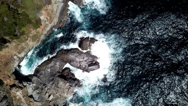 4k drone aerial video of the california coastline with mountains by big sur - panning stock videos & royalty-free footage