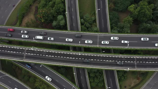 drone aerial video of vehicles on the nanjing overpass in nanjing city, jiangsu province. - road junction stock videos & royalty-free footage