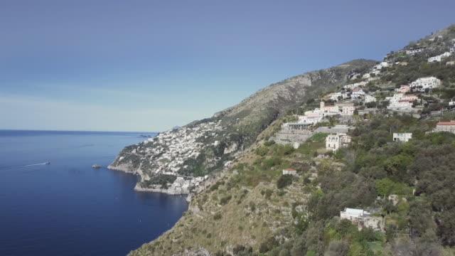 drone aerial view of amalfi coast and sorrento peninsula - coastal road stock videos & royalty-free footage