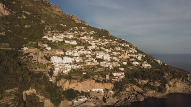 Drone aerial view of Amalfi coast and Sorrento peninsula