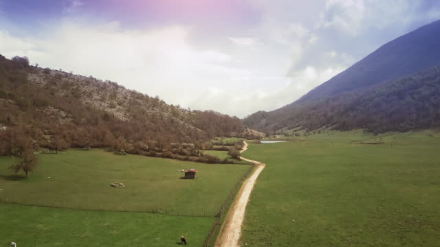 Drone aerial view of Italian landscapes