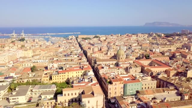 drone aerial view of old famous destination town palermo is located in the northwest of the island of sicily - sopra video stock e b–roll