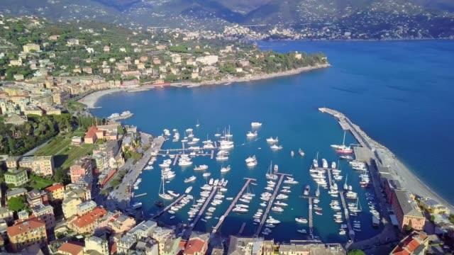 drone aerial view of santa margherita ligure a comune (municipality) in the metropolitan city of genoa in the italian region liguria - marina porto marittimo video stock e b–roll