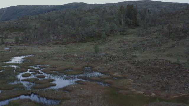 stockvideo's en b-roll-footage met de luchtmening van de drone over een kleine meervijver, openluchtwildernis in noorwegen - negative emotion