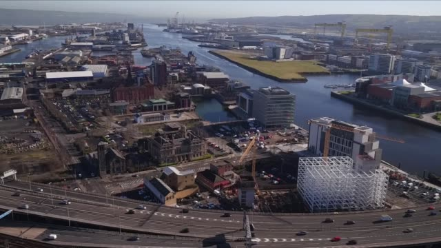 drone aerial views of belfast - belfast stock videos & royalty-free footage