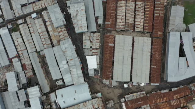 drone aerial views of shanty town slums - kenya stock videos & royalty-free footage