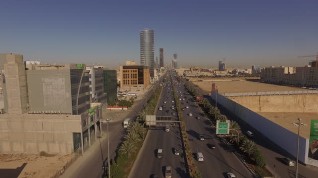 drone aerials of early morning traffic in riyadh, saudi arabia. - saudi arabia stock videos & royalty-free footage