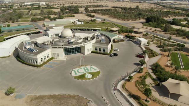 Drone aerials of International Centre for Biosaline Agriculture in Dubai flying towards building