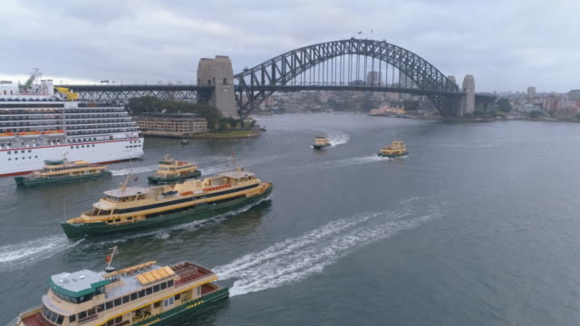 drone aerials of sydney on a stormy day - ferry stock videos & royalty-free footage