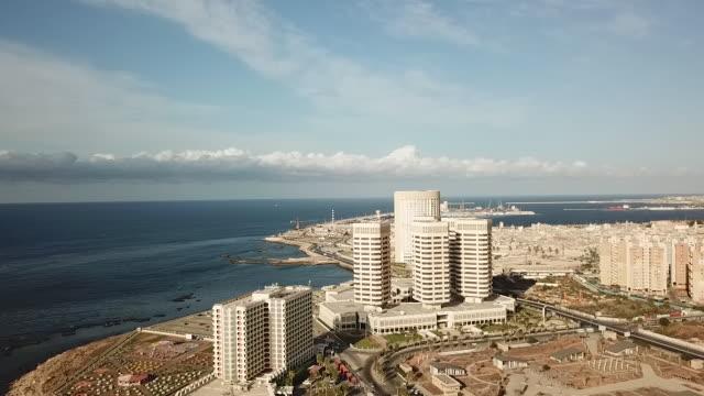 drone aerials of tripoli coast and skyline and mediterranean sea on 24th september 2017 in tripoli libya - libya stock videos & royalty-free footage